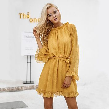Simplee Lace up backless mesh dress women Elegant stringy selvedge sash mini dress Fashion long flare sleeve dresses