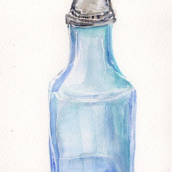Vinegar glass shaker  watercolor painting, Original ART,  5 x 7, Culinary, kitchen, dining, food art