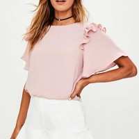 Missguided - Pink Frill Shoulder Top