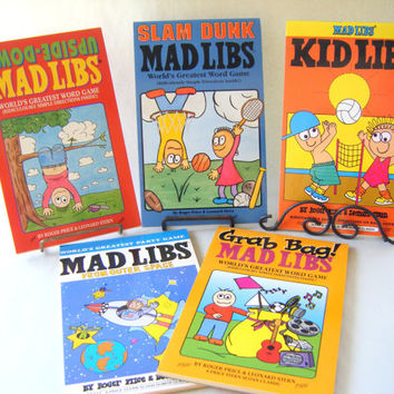 Vintage Mad Libs Books Set of 6 Word Games Unused Fun Games Writing Comedy Children's Books