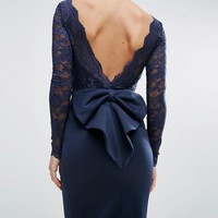 City Goddess Petite Fishtail Maxi Dress With Lace Sleeves And Bow Back at asos.com