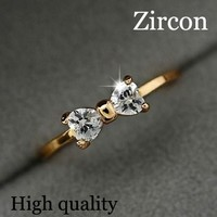 2014 hot New Design Fashion Noble Plated 18K Real Gold  Bow ring Zircon Crystal Rings ! cRYSTAL sHOP