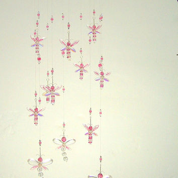 Pink Dragonfly Mobile Baby Room Decor Baby Girl Mobile Baby Shower Gift Nursery Mobile Baby Crystal Mobile Crystal Chandelier Suncatcher