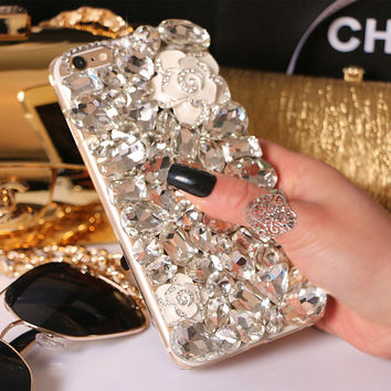 Luxury Handmade Full Crystal Mobile Phone Case for iphone 5 5s 6 6s plus, for galaxy S6 S7 and more