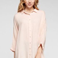 Solid Woven Button Down shirt tunic with open back detail 62070