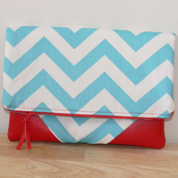 Chevron Fold Over Clutch/ Canvas Clutch/ Vegan Leather/ Small Purse/ Small Handbag/ Chevron Canvas Bag/ Summer Clutch