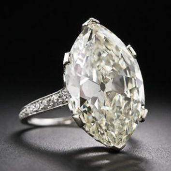 10 Ct Antique Art Deco Marquise Moissanite Engagement Ring Solid 10K White Gold