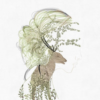 girl and deer, illustration, art print of orginal drawing