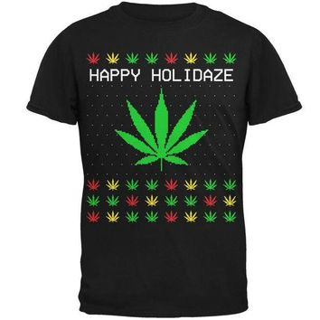 PEAPGQ9 Pot Leaf Rasta Happy Holidaze Holidays Ugly Christmas Sweater Mens T Shirt