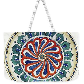 An Ottoman Iznik Style Floral Design Pottery Polychrome, By Adam Asar, No 20a - Weekender Tote Bag