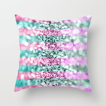 Pink & Blue Glitter Stripes  Throw Pillow by Perrin Le Feuvre