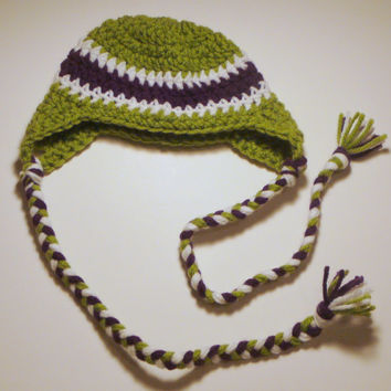 Hat - Green, White and Purple - 0-3 M
