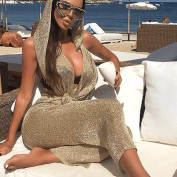 Bad Babe Metallic Jumpsuit With Hoodie