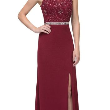 Burgundy Long Formal Dress Appliqued Bodice with Slit