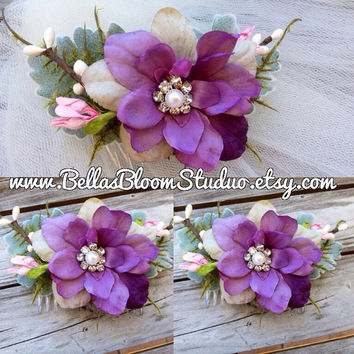 Purple hair comb, bridal headpiece, purple headpiece, Plum fascinator , Lavender bridal hairpiece, floral hair piece,rustic wedding etsy