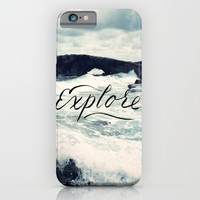 Explore Beach Wave Ocean Typography Photo iPhone & iPod Case by BigKidult | Society6