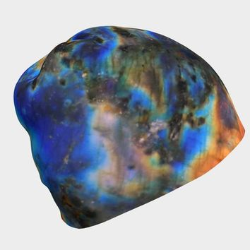 Rainbow Labradorite Crystal Galaxy Beanie Hat Winter Hat | Psychedelic Aesthetic Clothing | Trippy Print | Psy Trance | Rave Hippie Clothes