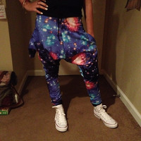 Unisex GALAXY - Space Jam -  Harem pants Convertable Drop Crotch Pants All Sizes