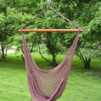 Deluxe Large Dark Brown Rope Hammock Swing Chair Extra Soft Poly Rope