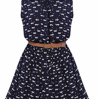 Dark Blue Animal Print Sleeveless Skater Mini Dress