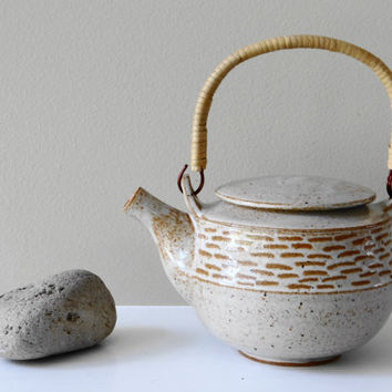 Rustic Oatmeal White Teapot with Cane Handle,Ceramic teapot, Handmade Teapot, Japenses Style Teapot, Father's Day Gift, Personal Teapot