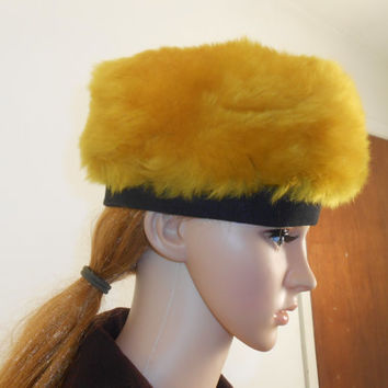 Gold Faux Fur Hat - 1960s Winter Fur  Hat -  Yellow Mustard Gold Hat - Free US Shipping