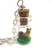 Pikachu Pokemon Pokeball necklace bottle charm by Mandyscharms