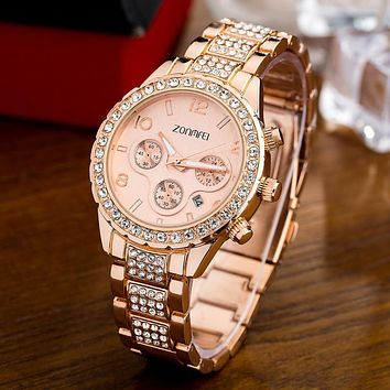 ZONMFEI 2017 Famous Brand Watches Women Stainless Steel Quartz Watch Military Crystal Gold Watches relogio feminino montre femme