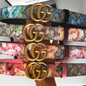 Gucci Fashion Women Men Floral Print Belt Flower Leather Belt