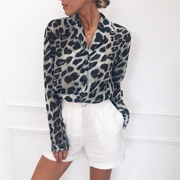 Leopard Blouse Women Long Sleeve Chiffon Blouses Sexy Print Turn-Down Collar Office Shirt Casual Loose Tops Blusas Chemise Femme
