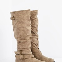 Taupe Buckled Slouchy Knee High Boot | Riding Boots | rue21