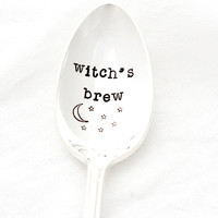"""Hand stamped coffee spoon for her morning """"witch's brew"""". Vintage stamped silverware for Samhain and Halloween."""