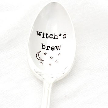 "Hand stamped coffee spoon for her morning ""witch's brew"". Vintage stamped silverware for Samhain and Halloween."