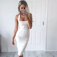 2015 Plunging Neck Womens Summer Dress Women Sexy Club Dress Backless Ladies Midi Dress Sexy Pencil Dress