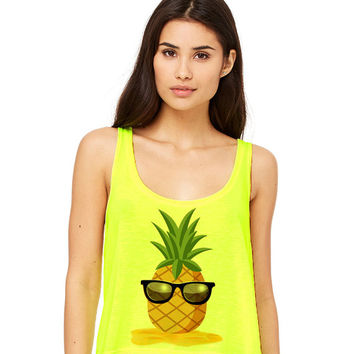 Neon Yellow Cropped Tank Top - Pineapple Man - Summer Outfit Spring Sand Sunglasses Fruit