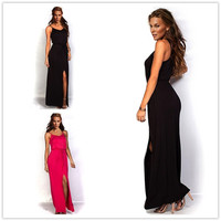 Feelingirl sexy women summer style spaghetti strap party dress split ankle-length backless celebrity casual maxi long dress = 1696885060