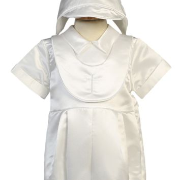 Romper with Cross Embroidered Bib Satin Christening Outfit (Baby Boys 3 - 24 months)