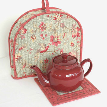 Tea Cozy, Quilted Floral Tea Cosy, Tea Pot Mat, Trivet, Blue Red Teapot Cover, Insulated Tea Cozy, Quiltsy Handmade