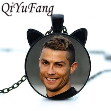 QiYuFang New 2018 Cristiano Ronaldo CR7 Necklace Pendant with two ears Jewelry Glass Cabochon Gift Men