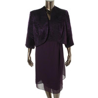 Le Bos Womens Plus Embellished Textured Dress With Jacket