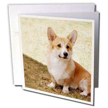 3dRose Pembroke Welsh Corgi - Greeting Cards, 6 x 6 inches, set of 6 (gc_1065_1)