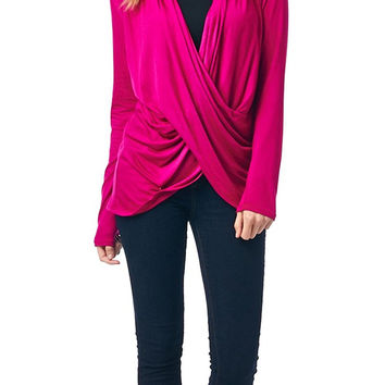 82 Days Women'S Rayon Span Twisted Front Top With Long Sleeves - Solid