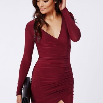 64e4dd0c88a URNICE SLINKY WRAP DRESS BURGUNDY from MISSGUIDED