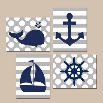 BOY NAUTICAL Wall Art, Baby Boy Nursery Artwork, Ocean Bathroom Decor, Whale Anchor Sailboat Wheel, CANVAS or Prints, Set of 4 Stripes Dots
