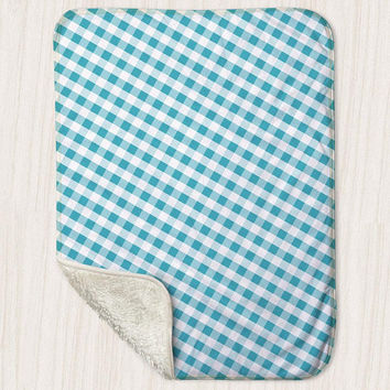 "Turquoise Gingham Pattern Baby Blanket - Sherpa Fleece Blanket Size 30"" x 40"" - Made to Order"