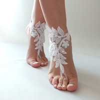 Free Ship Beach wedding barefoot sandals ivory or white Beach shoes, bridal sandals, lace sandals,  wedding sandals, barefoot sandals