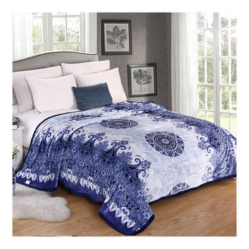 Blue and White Porcelain Thick Mink Cashmere Flannel Blanket Throw Gift Child Single Queen   200x230cm