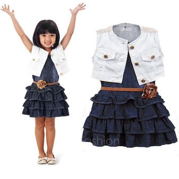 Fashion Baby Girl Kids Outfit Clothes Coat + Dress 2 Piece Set with Belt VVF = 1930293700