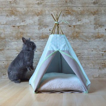 Rabbit bed Kitten teepee with pillow - star pattern mint & grey - ferret bed