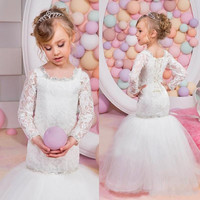 Vintage Mermaid Flower Girl Dresses for Weddings Lace Long Sleeves Tulle Beaded Square New Arrival Birthday Party Pageant Gowns